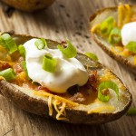 30916566 - homemade potato skins with mackerel cheese and sour cream