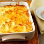 47809204 - a baked fish casserole topped with melted cheese